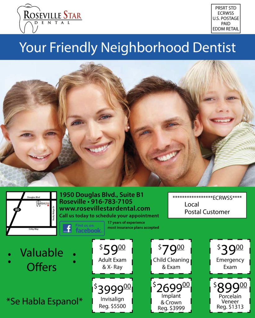 Roseville Dentist No Insurance Flyer